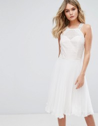 Elise Ryan Pleated Dress With Cutaway Lace Bodice - White