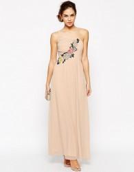 Elise Ryan Pleated One Shoulder Maxi Dress With Crochet Applique Trim - Navy