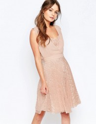 Elise Ryan Pleated Skater Dress With Lace Skirt - Pink