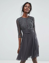 Elise Ryan Ruched Waist Lace Midi Dress With 3/4 Length Sleeve - Grey