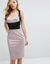Elise Ryan Satin Pencil Dress With Bust Cup Corset Detail - Multi