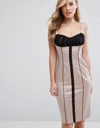 Elise Ryan Satin Pencil Dress With Hook & Eye Corset Detail - Multi