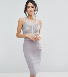 Elise Ryan Scallop Lace Pencil Dress With Contrast Panelling - Grey