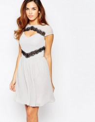 Elise Ryan Skater Dress With Contast Lace Trim - Grey