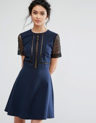 Elise Ryan Skater Dress With Lace Inserts - Navy