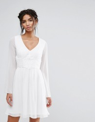 Elise Ryan Skater Dress With Lace Waist - White