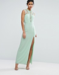 Elise Ryan Sleeveless Maxi Dress With Contrast Lace Bodice - Green