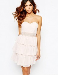 Elise Ryan Sweetheart Bandeau Frill Dress With Lace Trim - Pink
