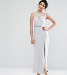 Elise Ryan Sweetheart Lace Maxi Dress With Embellished Waist - Grey