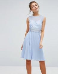 Elise Ryan Sweetheart Midi Dress With Lace Bodice - Blue