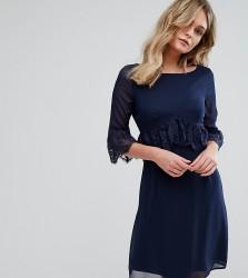 Elise Ryan Swing Dress With Eyelash Trim - Navy