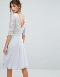 Elise Ryan V Back Midi Dress With Eyelash Lace Upper - Multi