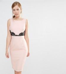 Elise Ryan V Back Pencil Dress With Lace Trim - Pink