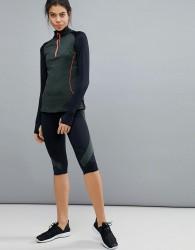 Elle Sports Mesh Panel Capri Leggings - Black