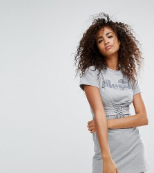 Ellesse Relaxed Mini T-Shirt Dress With Corset Detail Bralet Overlay And Chest Logo - Grey