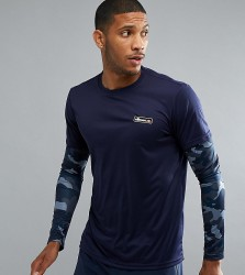 Ellesse Sport Long Sleeve T-Shirt With Layered Sleeve - Navy