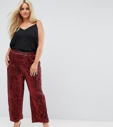 Elvi Allover Premium Sequin Wide Leg Trouser - Red