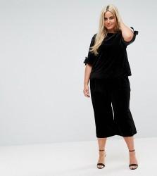 Elvi Allover Velvet Culotte Co ord - Black