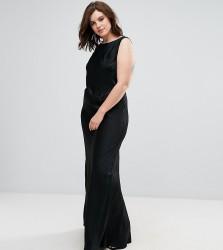 Elvi Black Long Bias Cut Dress - Black
