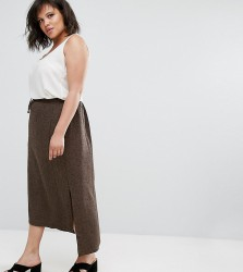 Elvi Brown Tweed Skirt - Brown