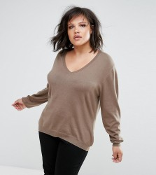Elvi Brown V Neck Jumper - Brown