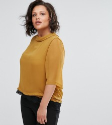 Elvi Chiffon Top With Lace - Yellow