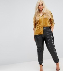 Elvi Faux Leather Cigarette Trouser With Frill Side Detail - Black