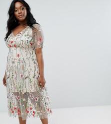 Elvi Floral Embroidered Dress - Multi
