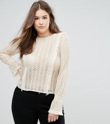 Elvi Lace Blouse With Fluted Sleeve - Cream