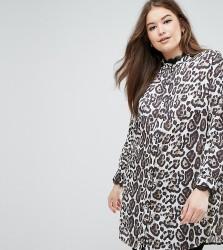 Elvi Leopard Print Longline Shirt - Multi