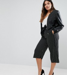Elvi Pinstripe Culottes With Leather Look Belt - Navy