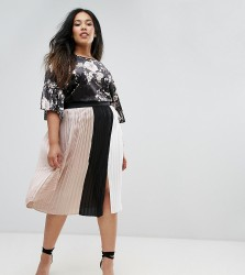 Elvi Pleated Colour Block Skirt With Split Detail - Multi