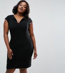 Elvi Plus Dress With Slit Neck - Black