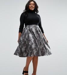 Elvi Plus Metallic Skirt In Reptile Print - Black