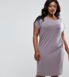 Elvi Plus Ruched Dress With Lace Trim - Grey