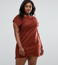 Elvi Plus Suedette Shift Dress - Orange