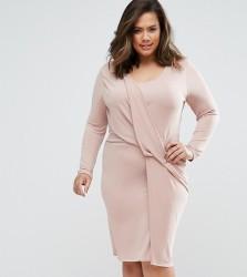 Elvi Plus Twist Dress - Pink