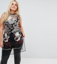 Elvi Premium Embroidered Longline Sheer Tunic Top - Multi