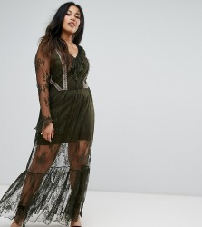 Elvi Premium Lace Maxi Dress - Green