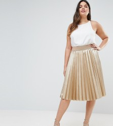 Elvi Premium Metallic Pleated Skirt - Gold
