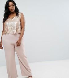 Elvi Premium Sequin Bodice Jumpsuit - Pink