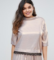 Elvi Premium Shimmer Shell Top With Lace Detail - Pink