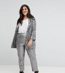 Elvi Silver Textured Trouser - Silver