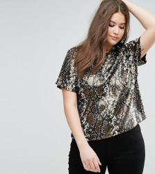 Elvi Snake Sequin Top - Gold