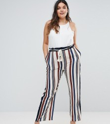 Elvi Striped Trousers With Rope Belt Detail - Multi
