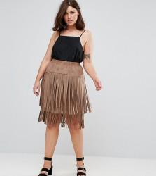 Elvi Suedette Festival Fringe Skirt - Tan
