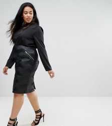 Elvi Textured Pencil Skirt - Black
