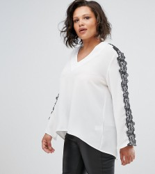 Elvi V-Neck Top With Black Lace Trim - White