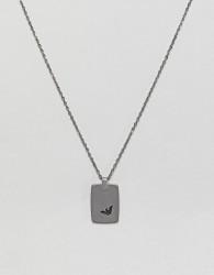 Emporio Armani Dog Tag Necklace In Silver - Silver