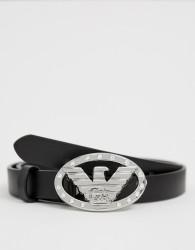 Emporio Armani metal logo belt - Black